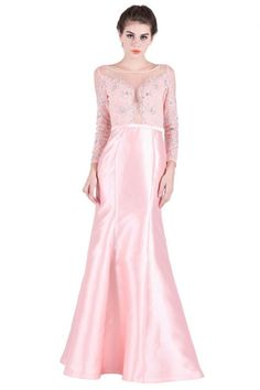 ab8a2c0215 Sheath Illusion Neckline Long Sleeve Pink Taffeta Lace Prom Dress With Sash Prom  Dresses Long Pink