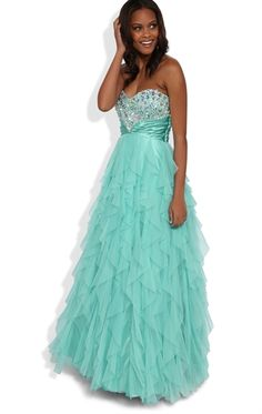 Strapless Long Prom Dress with Tendril Skirt and Stone Trim