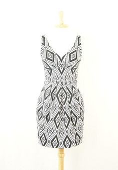 Seven 7 for All Mankind Black White Geometric Pleated Cocktail Dress s