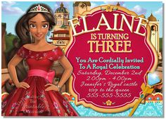 PERSONALIZED ELENA OF AVALOR BIRTHDAY INVITATION Grab your mariachi's and get ready to sway to the music! Princess Elena of the Kingdom of Avalor is here to party! Bright and festive, how can you NOT fall in love with this Princess Elena birthday invitation with it's Spanish beauty and vibrant colors!