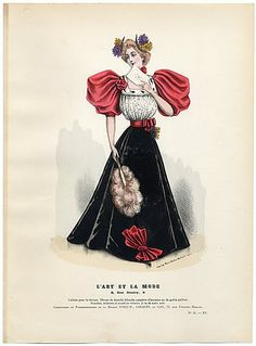 L'Art et la Mode 1894 N ° 51 Marie de Solar, hand colored fashion plate, Fan