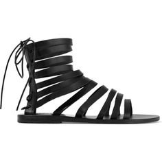 Ancient Greek Sandals Galatia leather sandals (4,300 MXN) ❤ liked on Polyvore featuring shoes, sandals, black, tie sandals, black shoes, kohl shoes, black caged sandals and leather lace up shoes