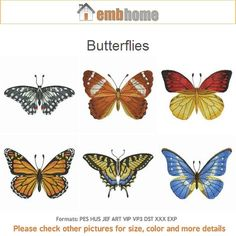 Butterflies Machine Embroidery Designs Instant Download 4x4