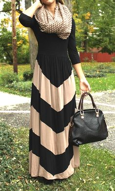 Womens color block modest chevron print maxi dress with 3/4 sleeves available in black and mocha