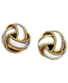 Giani Bernini 24k Gold over Sterling Silver Earrings, Love Knot Stud Earrings from Macy's