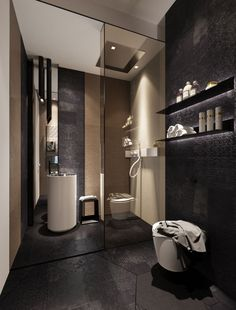 large format, shaped and textured black floor tile