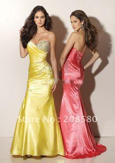 Yellow strapless beaded corset back mermaid evening prom gowns dresses taffeta E771(China (Mainland))