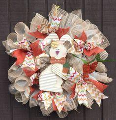 Country primitive burlap bunny Wreath on Mercari Burlap Bows, Burlap Wreath, Easter Wreaths, Christmas Wreaths, Wooden Rabbit, Welcome Wreath, Corrugated Metal, Deco Mesh Wreaths, Country Primitive