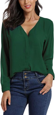 EXCHIC Women's Casual V-Neck Chiffon Blouse Solid Long Sleeve Top Shirt (M, Green) at Amazon Women's Clothing store
