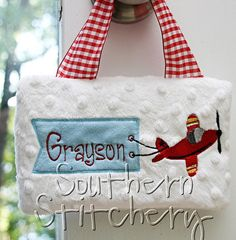 Boys Airplane Pillow Door Hanger Personalized by SouthernStitchery, $18.95