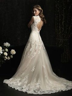Open Back Modified Mermaid Lace on Tulle Wedding Dress 6-8-10-12-14-16-18-20-22
