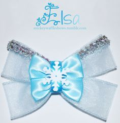 Mickey Waffles Bows - Elsa - Buy Here! [[MORE]] Elsa - $9. Medium bow (4 inches) comes with attached french barette. Buy through tumblr byc...