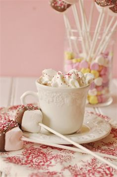 Malted Hot Chocolate Mix with a fun valentine marshmallow stir stick. Chocolate Dipped Marshmallows, Chocolate Sticks, Hot Chocolate Bars, Valentine Chocolate, Ice Cream Treats, Stir Sticks, Candy Making, Vegetarian Chocolate, Yummy Drinks