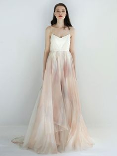 A-Line Silk Organza Wedding Dress with Watercolor Motif | Leanne Marshall Spring 2018
