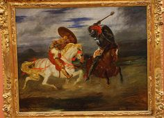 Eugène DELACROIX, Combat de chevaliers dans la campagne, 1824?, for more, please visit http://www.painting-in-oil.com/artworks-Delacroix-Eugene-page-1-delta-ALL.html