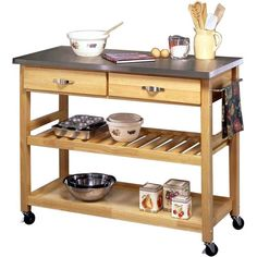 A mobile kitchen island complete with a stainless steel top is a practical investment piece.   $295