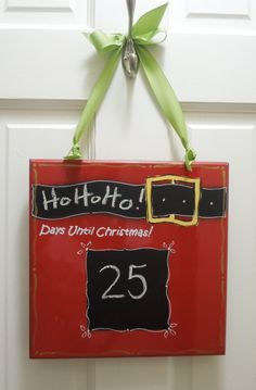 "Santa Clause Christmas Countdown Chalkboard.  11""X11"" $12.50"