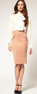Neutral + Ivory (silk/sheer/tie blouse and tan skirt)