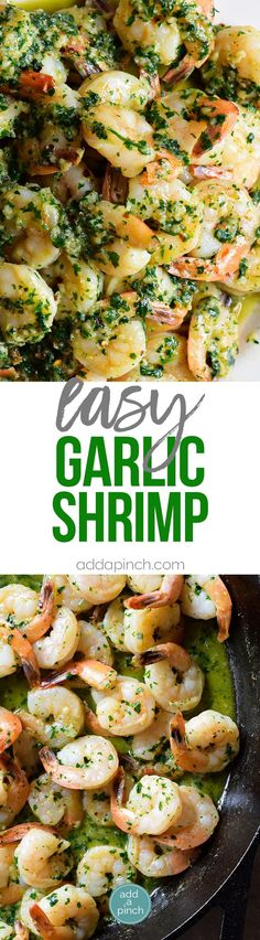 Easy Garlic Shrimp Recipe - This garlic shrimp recipe is ready and on the table in 15 minutes! Made with shrimp, garlic, butter, and parsley, this quick and easy shrimp recipe is a definite favorite! // addapinch.com