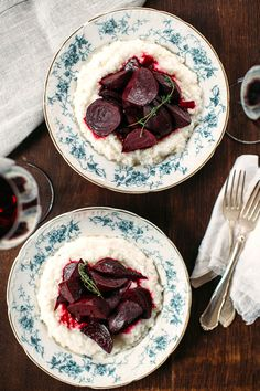 Wine-Braised Beets with Goat Cheese Grits via Earthy Feast
