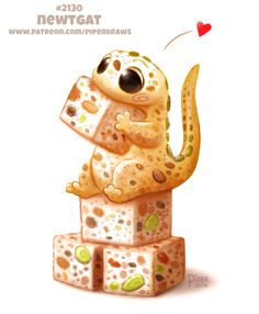Daily Paint Newtgat by Cryptid-Creations on DeviantArt Cute Food Drawings, Cute Animal Drawings, Kawaii Drawings, Cute Fantasy Creatures, Cute Creatures, Mythical Creatures, Reptiles, Amphibians, Animal Puns