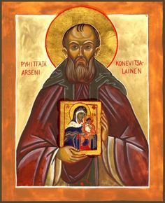 Arseny of Konevitsa by Fr. Vladimir - (This icon was given to me by Fr. Vladimir in the New Valamo Monastery, Finland) Pentecost, Orthodox Icons, All Saints, Russia, 21st, Baseball Cards, Doorway, Painting, Finland