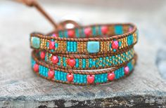 Aqua Blue and Coral Beaded Triple Leather Wrap Bracelet by MindyG