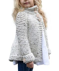 Amazon.com: Toddler Baby Girls Autumn Winter Clothes Button Knitted Sweater Cardigan Cloak Warm Thick Coat: Baby