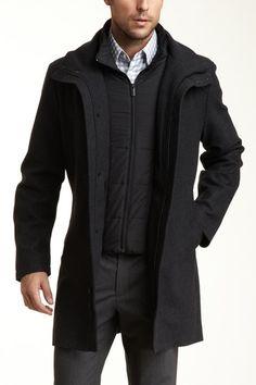 T-Tech by Tumi Waterproof Wool Stand-Up Collar Topcoat dark charcoal grey gray black