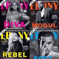 Beyonce, Jay Z, Rihanna, & Kanye West collector's edition covers for Ebony Magazine June 2014 Issue