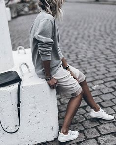 All grey with white sneakers