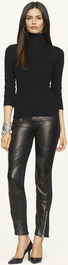 FASHION, RALPH LAUREN BLACK LABEL DENIM FALL 2013, RALPH LAUREN, denim, leather, skinny jeans