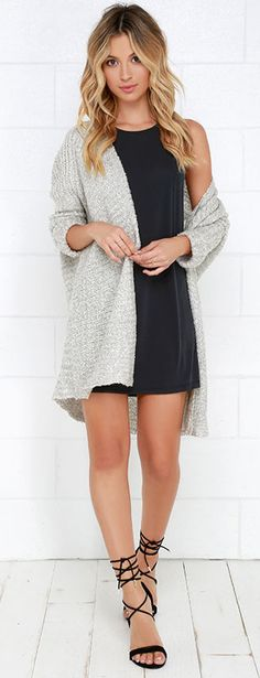 This collarless cardigan sweater is composed of ultra-soft knit that instantly evokes warm, fuzzy feelings.  #lovelulus