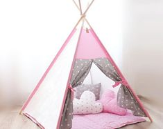Teepee pink gray stars Tipi enfant Teepee Play tent Tent for kids Kids teepee tent Wigwam Teepee ten Girls Play Tent, Kids Play Teepee, Girls Teepee, Kids Tents, Toddler Teepee, Baby Teepee, Childrens Teepee, Toddler Rooms, Toddler Bed