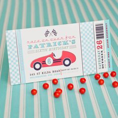 Vintage Race Car Birthday Party - Aqua/Red, Yellow/Black or Pink/Red Printable Customized 4x8 Invitation on Etsy, $18.00