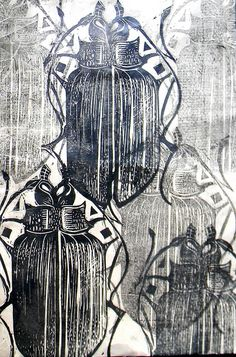 Lovely rough print style and repetition at different tones - - - - - - - - beetle lino print and wax - Mangle Prints