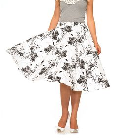 Look what I found on #zulily! White & Black Floral Midi Skirt - Women & Plus by HEARTS & ROSES LONDON #zulilyfinds