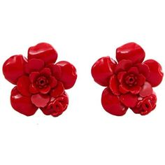 Preowned 1980s Red Painted Metal Chanel Flower Clip-on Earrings found on Polyvore featuring jewelry, earrings, red, pre owned jewelry, 80s jewelry, flower clip on earrings, red jewelry and red clip earrings