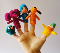 Pocoyo Finger puppets, Toddler Toys, Educational games, Waldorf toy, crochet finger theater, crochet puppets, Theater game, pocoyo amigurumi de GMmasDesign en Etsy