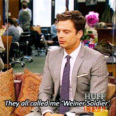 Sebastian Stan (Bucky the Winter Soldier) talking about the crew's nicknames...