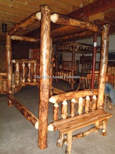 Aspen Log Single Rail Canopy Sample....all of our beds are complete with headboard, footboard, solid wood side rails trimmed in aspen log, mattress slats, quality finish and hardware..this one shown in queen but we build in all sizes  (814) 257-8911 or facebook at Old Farm Amish Furniture for a complete line of rustic log amish made furniture in aspen, sassafras, hickory, peeled pine, cedar and more :)