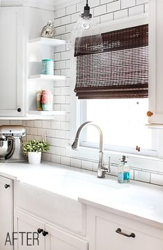 classic white subway tile kitchen - all the way to the top of the wall