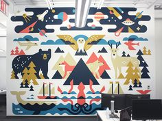 1 of 2 murals we did back in the fall for the TextNow offices. Beautifully painted by Adam Straus - http://strausdesign.com