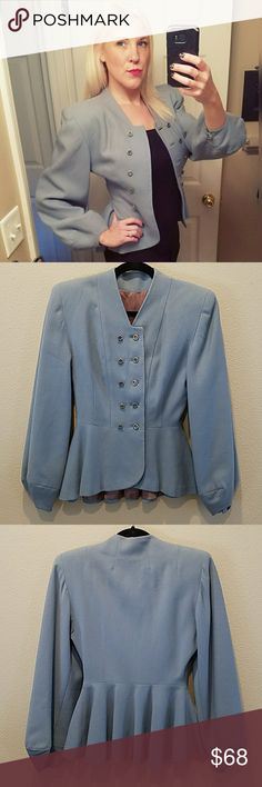 Gorgeous, GEORGIA STYLE SHOP blazer!! Pictures do not do this justice!! It's amazing. Such a unique silhouette. Brand is Georgia Style Shop. No tags for material or size. Would fit a size 0-2. Mannequin size 2. Small hole near cuff. (See 7th pic). Otherwise, in excellent condition. Georgia Style Shop Jackets & Coats Blazers
