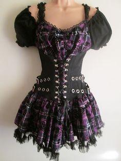 Size XL 12-14 Living Dead Souls Purple Tartan Skulls Gothic Punk Mini Dress