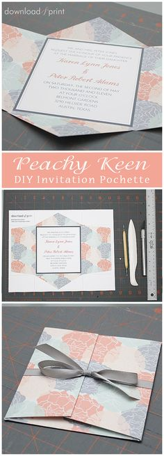This all-in-one wedding invitation pochette is stylish and couldn't be easier to put together. The modern pattern and invitation print on one sheet of paper. Then just print and trim!