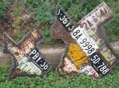 Antique license plates welded in the shape of my favorite state! Love it!