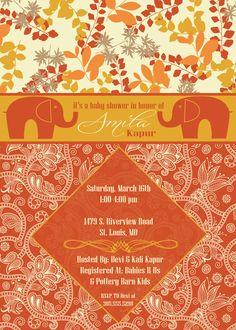 Beautiful Indian inspired baby shower invite