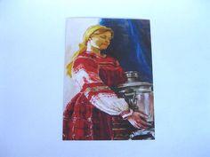 UKRAINIAN MODERN POSTCARD GIRL WITH SAMOVAR Artist, Modern, Painting, Postcards, Trendy Tree, Painting Art, Paintings, Painted Canvas, Drawings