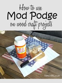 A step-by-step tutorial on how to use Mod Podge and scrapbook paper on wood crafts to make projects. Lots of pictures and a supplies list at HomeWithLo.com